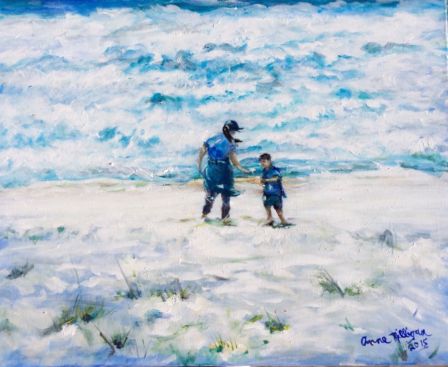 Mother and Son Collecting Seashells