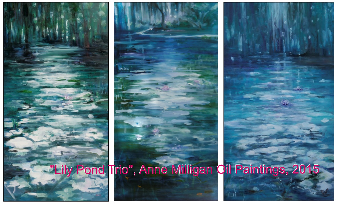 Lily Ponds, 3 paintings, 24